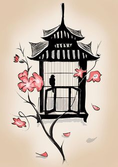 Pagoda style birdcage with cherry blossoms Japanese tattoo art flash