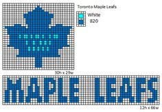 Here is patterns for the logos and name plates for the current teams of the NHL. If anyone would like the patterns for any of the teams tha. Bead Loom Patterns, Beading Patterns, Cross Stitch Patterns, Knitting Charts, Knitting Patterns, Crochet Patterns, Leaf Patterns, Sewing Stitches, Toronto Maple Leafs Logo