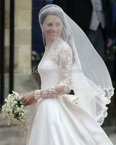 Wholesale Bridal Veils - Buy HOT Kate Middleton Vintage Lace Edge Cathedral Length Bridal Veils Accessory Celebrity Wedding Gown, $48.86 | D...