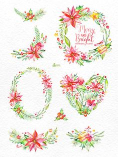 Merry And Bright. Watercolor Bouquets and Wreaths by OctopusArtis