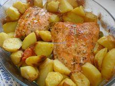 simple mais délicieux Saumon et pommes de terre au four:(www.facebook.com/GRAINE.DE.MARIN)