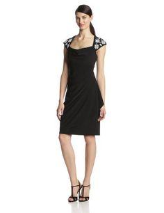 MSK Women's Cap Sleeve Caviar Beaded Shoulder Sd Drape Dress, Black/White, 6 MSK,http://www.amazon.com/dp/B00GRO0PV2/ref=cm_sw_r_pi_dp_n-z-sb0TY9ZQTWH3