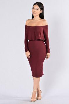Off On My Own Dress - Wine/Burgundy   Fashion Nova