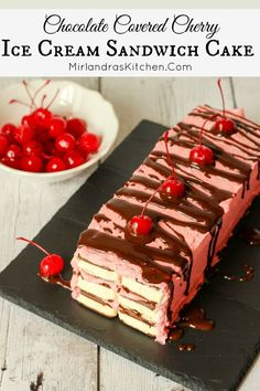 Chocolate Covered Cherry Ice Cream Sandwich Cake is a simple summer treat anybody can make in 20 minutes. My amazing recipe for hot fudge sauce is included Recipe For Hot Fudge, Hot Fudge Sauce, Frozen Desserts, Frozen Treats, Fresco, Cherry Ice Cream, Chocolate Covered Cherries, Sandwich Cake, Sandwiches