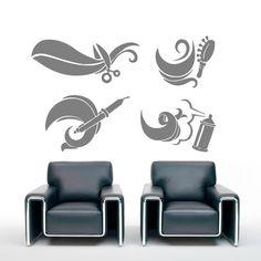 Wall decal decor decals art hair hairstyle salon scissors brush curling curl beauty master work stylist girl woman Wall Decal Sticker, Curling, Scissors, Stylists, Hairstyle, Woman, Beauty, Home Decor, Art