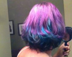 Purple and blue Hair And Nails, Aqua, Long Hair Styles, Purple, Makeup, Creative, Blues, Shades, Hairstyles
