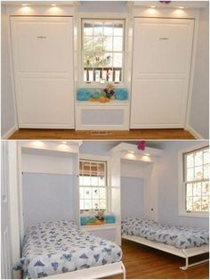 Decorate your room in a new style with murphy bed plans Murphy Bed Ikea, Murphy Bed Plans, Murphy Bunk Beds, Modern Murphy Beds, Kids Bunk Beds, Bed Wall, Decorate Your Room, Spare Room, Bedroom Decor