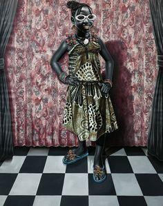 La culture rumba c'est aussi une façon de s'apprêter pour sortir c'est valable aussi pour les enfants. Voici ici une peinture de l'artiste  congolais , JP Mika, qui met en scene une petite fille en robe de pagne.