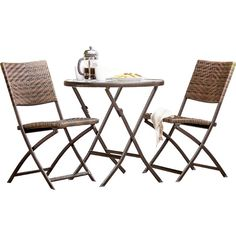 Prattsville 3 Piece Outdoor Bistro Set Table And Chairs, Side Chairs, 3 Piece Bistro Set, Patio Bar Set, Outdoor Furniture Sets, Outdoor Decor, Small Patio, Glass Table, Dining Set