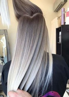 we rounded up 30 hair color ideas you can try if you have lo.- we rounded up 30 hair color ideas you can try if you have long hair! we rounded up 30 hair color ideas you can try if you have long hair! 30 Hair Color, Hair Color Shades, Ombre Hair Color, Hair Color Balayage, Balayage Hairstyle, Grey Ombre, Ash Blonde Balayage Silver, Platinum Blonde Ombre, Silver Blonde Hair