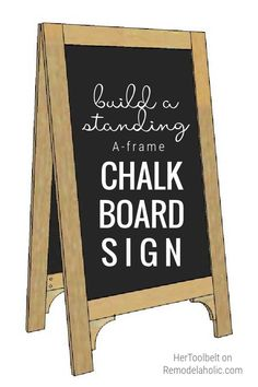 This stand-up chalkboard easel sign is easy to build one (or a few) in a weekend. List seating charts at an outdoor wedding, a food or drink menu for a party, or a welcome sign for guests or customers. #woodworkingplan #DIYchalkboard Chalkboard Stand, Chalkboard Easel, Drink Menu, Wood Plans, Seating Charts, Projects For Kids, Woodworking Plans, How To Plan, Signs