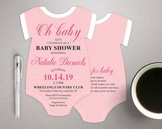 Oh Baby Invitations, Girl Baby Shower Invitations, bodysuit invitation, Baby Pink invitations, Fancy invites, printed with envelopes