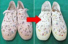 Zapatos blancos como unas zapatillas de deporte o zapatillas de tenis blancas se ven muy bien, pero mantenerlos limpios puede ser un desafío. Pero con este truco genial podrás dejar los zapatos blancos sucios como nuevos una vez más con facilidad. Lo que necesita: + bicarbonato sódico, + Baby Shoes, Espadrilles, Slippers, Clothes, Fashion, World, Colorful Shoes, White Shoes, Cleaning Hacks