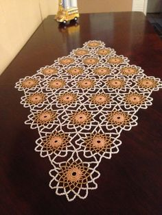 Gold & White Crochet Beaded DoilyTable Toppers by hiyambeads