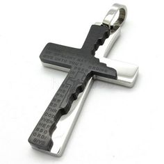 Men's Cross Crucifix Scriptures 316L Stainless steel Pendant Necklace - $53nok (12)