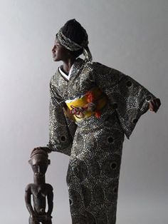 African kimono design by Tokyo-based designer Serge Mouangue