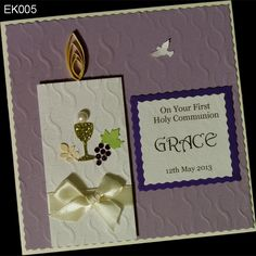 Handmade card for his first Holy Communion in the color purple. Inspired by candle communion with symbols Communion. In the background, a small dove representing the Holy Spirit. Card is personalised, giving a card of uniqueness.