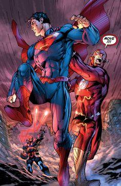 Superman & Flash. Justice League #5 by Jim Lee.