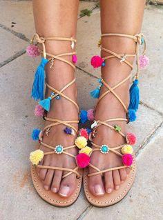 Boho sandals, pom pom sandals, gladiator sandals,bohemian sandals
