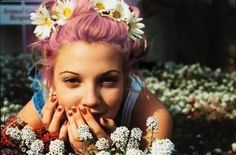 Drew Barrymore, circa the 1990s, with pink hair!