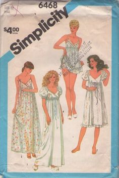 MOMSPatterns Vintage Sewing Patterns - Simplicity 6468 Vintage 80's Sewing Pattern DREAMY Empire Waist, Low Cut Surplice Bodice Romantic Long Nightgown, Gown, Babydoll Pajamas Top & Bloomers Size 12
