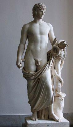 """Antinous as Agathodemon"". Roman 130-140. AD. marble. Altes Museum. Berlin."