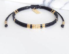 Black Beaded Bracelet, Friendship Bracelet, Beaded Wrap Bracelet, Boho Jewelry, Gift for Her, Best Friend Gift