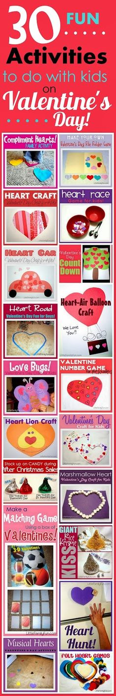 30 fun activities to do with your kids on Valentine's Day! Great list of Valentine's Day crafts & activities!