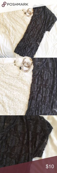 2 Boho Lace Tops 1 ivory and 1 charcoal Lace top, both fit loose and great with a bralette. Great condition. No flaws Top 10% rated seller. Bundled discounts. Ships same or next day Tops Blouses