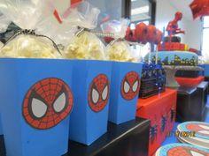 Popcorn treats at a Superhero Birthday Party #superhero #popcorn