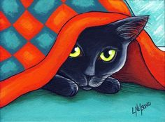 : Black Cat Hiding Under Christmas Quilt by Lisa Monica Nelson Black Cat Art, Black Cats, Black Art Painting, Acrylic Paintings, Cat Quilt, Cat Colors, Cat Drawing, Christmas Cats, Cat Love