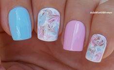 #BabyBlue & #BabyPink #Marble #Nails