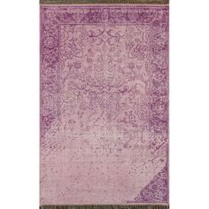 Sultry lilac hues and a stunning vintage-inspired design help to define this traditional area rug. This rug is overdyed, and features a hand-knotted wool construction for a soft pile underfoot.