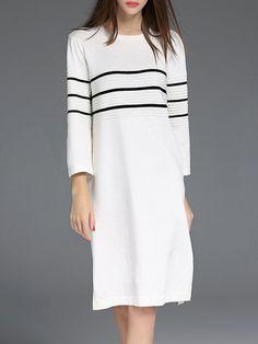 White H-line Crew Neck Casual Slit Midi Dress