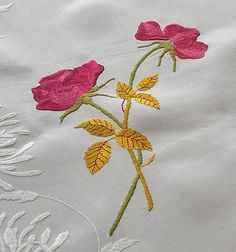 Em's Heart Antique Linens -Antique Society Silk Embroidered