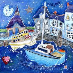 Boat Drawing, Canvas Ideas, Coastal Style, Love Art, Puzzles, Life Hacks, Folk, Art Pieces, Cottage