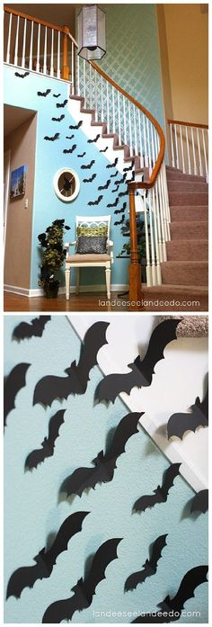 Fun idea for your entryway or front porch! Create a wall of BATS for your spooktacular Halloween Party lair! | Landeelu - Spooktacular Halloween DIYs, Crafts and Projects - The BEST Do it Yourself Halloween Decorations