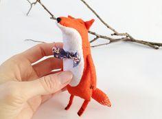Felt Fox With A Bow, Felted Miniature Animals, Woodland Animals by Amuru
