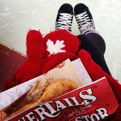 Winter, skates, the maple leaf, red, and BeaverTails pastries...could this be the most Canadian photo ever? Instagram photo by @Emilie Macfie (emiliemacfie)