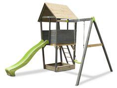 De 1 iunie, sa le oferim celor mici joaca in aer liber ^_^ Turnul din lemn cu leagan si tobogan EXIT Aksent are tot ce-i trebuie pentru o vara ca-n povesti!