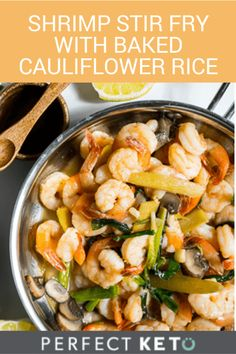 With plenty of bacon fat and MCT oil, this shrimp stir fry with baked cauliflower rice makes for a delicious evening low-carb meal! Can you say, shri-YUM-p? #keto #KetoLifestyle #KetoRecipes