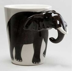 Adding a splash of fun to your morning beverage, our lifelike Elephant Mug is artfully handcrafted in Thailand of durable earthenware, exclusively for World Market. This unique and affordable piece delivers big smiles even before the coffee is poured. Elephant Mugs, Elephant Trunk, Elephant Love, Elephant Art, Elephant Stuff, Elephant Quotes, Elephant Icon, Elephant Keychain, Happy Elephant