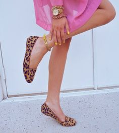 bold color blocks and leopard shoes