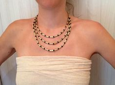 Egyptian style brass and volcanic stones snake tribal ethnic necklace