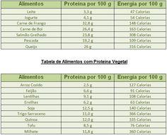 tabela de quantidade de proteina nos alimentos - Pesquisa Google