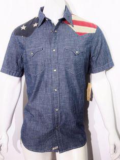 Denim & Supply Ralph Lauren American Flag yoke western chambray shirt size L   #DenimSupplyRalphLauren #ButtonFront