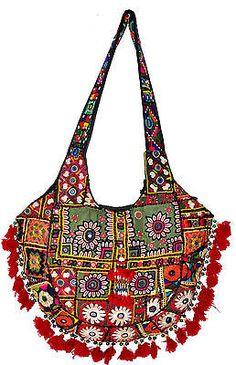 Vtg HOBO SLING HANDBAG Ethnic Embroidery & Tassels BANJARA/TRIBLE TOTE BAG INDIA