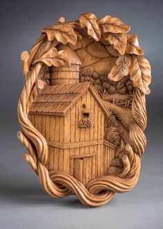2nd in Group B, Relief Carving 1st in Class 202 - Scene other than nature: Buildings, Bridges, etc. Tricia's Barn Nedra Herr - Newton, IA 11.5 x 7.75 x 1.25