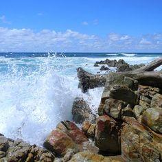 Waves crashing on rocks and driftwood on Seapark beach. Kwazulu Natal, Beach Waves, Driftwood, Rocks, Coast, Sea, Mountains, Park, Water