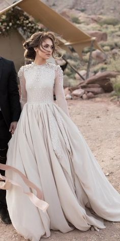 21 Modest Wedding Dresses With Sleeves ? modest wedding dresses with sleeves ball gown beige cathy telle ? : 21 Modest Wedding Dresses With Sleeves ? modest wedding dresses with sleeves ball gown beige cathy telle ? Stunning Wedding Dresses, Fall Wedding Dresses, Bridal Dresses, Tulle Wedding, Modest Wedding Gowns, Wedding Outfits, Gown Wedding, Wedding Dresses With Color, Elegant Gowns